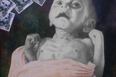 Cuadro dibujado a lápiz titulado: EL DINERO NO OCULTA LA INJUSTICIA de Siro López