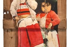 Cuadro pintado a óleo sobre una puerta de dos metros  titulado: CUIDEMOS A NUESTRA PEQUEÑA VIDA de Siro López