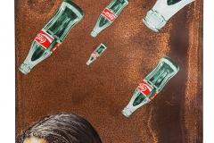 Cuadro pintado a óleo sobre metal oxidado titulado: QUIERAS O NO QUIERAS de Siro López