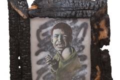 Cuadro dibujado con pastel titulado: ¡BASTA YA! JODER  de Siro López