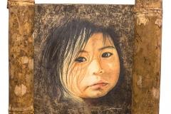 Cuadro dibujado con lápices de colores titulado: PEQUEÑOS RECUERDOS de Siro López