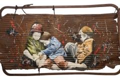 Cuadro pintado a óleo sobre metal oxidado titulado: NINGUNA REVOLUCIÓN LLEGARÁ A TIEMPO de Siro López