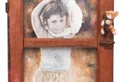 Cuadro pintado a óleo y lápiz titulado: REFUGIADA BOSNIA de Siro López
