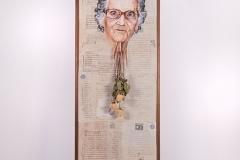 Cuadro pintado a óleo sobre escrituras de propiedad titulado: SIN TECHO de Siro López