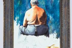 1 Cuadro pintado a óleo lienzo titulado: DETRÁS DE UN GRAN HOMBRE SIEMPRE HAY UNA MUJER de Siro López