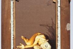 2 Cuadro pintado a óleo lienzo titulado: DETRÁS DE UN GRAN HOMBRE SIEMPRE HAY UNA MUJER de Siro López