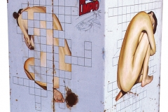 1 Cuadro pintado a óleo sobre lavadora titulado: AUTODEFINIDA de Siro López