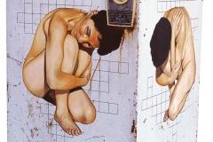 2 Cuadro pintado a óleo sobre lavadora titulado: AUTODEFINIDA de Siro López
