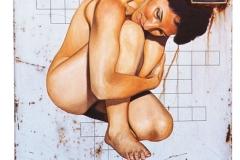 3 Cuadro pintado a óleo sobre lavadora titulado: AUTODEFINIDA de Siro López