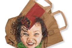 Cuadro pintado a óleo sobre bolsa de McDonalds titulado: MACRÓFAGO de Siro López