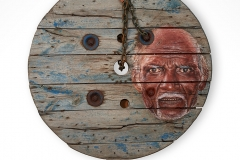 Cuadro pintado a óleo sobre madera titulado: UN PUEBLO LLAMADO SÍSIFO de Siro López